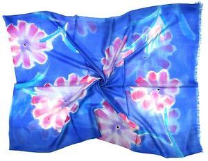 Blue Flower Print Design Large Silk Cashmere Blend Scarf - New (W149)