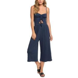 Roxy Womens Where You Move Crop Sleeveless Smocked Jumpsuit Juniors BHFO 6243