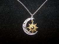 "large CRESCENT MOON GOLD SUN pendant charm 20"" Sterling Silver 925 necklace"