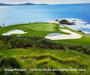 Pebble Beach Golf Links Club Hole 7 golf course oil painting art print 2550