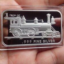 Antique, Classic Train, 1 Troy oz .999 Fine silver Bullion bar. NEW!