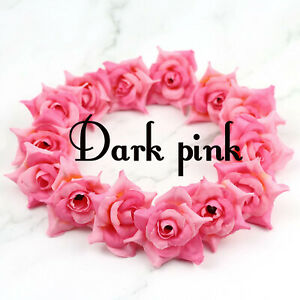 "20Pcs 2"" Dark Pink Artificial Rose Flower Heads Fake Fabric Flowers DIY Crafts"