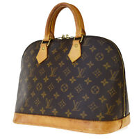 Authentic LOUIS VUITTON LV Alma Hand Bag Monogram Leather Brown M51130 76JC393