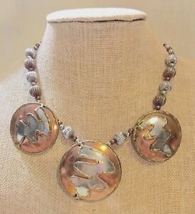 Vintage Mixed Metal Disc Artisan Necklace - 16 Inches Long