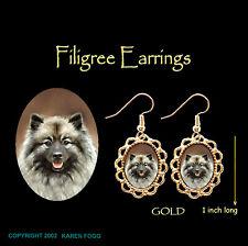 Keeshond Dog - Gold Filigree Earrings Jewelry