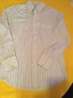 Mens Size med. Rustler shirt X-long tail long sleeve blue stripe rodeo western