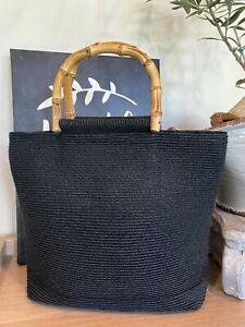 San Diego Hat Company Woven Handbag Black With bamboo handles