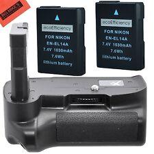 BG-N12 Replacement Battery Grip for Nikon D3400 + 2 EN-EL14A Batteries