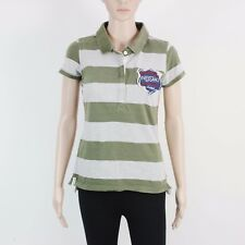 Next Womens Size 6 Petite Grey Green Stripe Polo Shirt Top