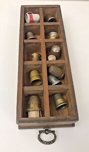 Vintage Wooden Drawer Silver Thimbles White King Soap Patina