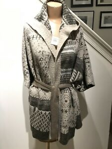 NWT ABERCROMBIE & FITCH FAIR ISLE CARDIGAN HOOD BELTED SWEATER- M/L- NEW