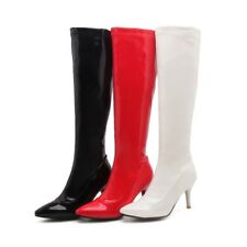 Women Patent Leather Knee High Boots Pointed Toe High Heel Clubwear Sexy Booties