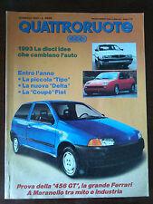 Quattroruote n 447 gennaio 1993 - BMW M3, Alfa Romeo 164 V6 Turbo, Audi 80
