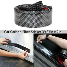 Black Carbon Fiber Car Door Sill Scuff Plate Cover Panel Step Protector Sticker