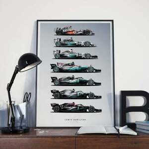 Lewis Hamilton World Championship Cars McLaren Mercedes F1 Poster Wall Hanging