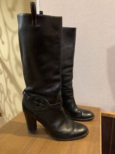 Gucci Boots Interlocking Harness Gg Knee Black Leather Riding  38,5 US 8,5
