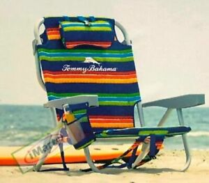 2021 Tommy Bahama Backpack Cooler Chair Storage Pockets Beach Pool New Stripe