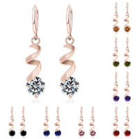 1 Pair Women Lady Cubic Zirconia Drop Dangle Circle Hoop Huggie Earrings Jewelry