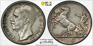 1926-R ITALY 10 Lire Silver Coin Vittorio Emanuele III PCGS XF-45