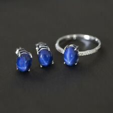 Synthetic Star Sapphire Jewelry Sets 925 Sterling Silver Ring Stud Earrings Gift