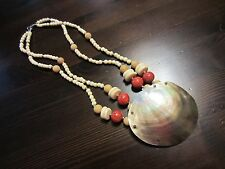 VTG Mother of Pearl Huge Pendant Bovine Bone Sponge Coral Carved Beaded Necklace