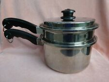 "SALADMASTER Stainless Steel T304S 3 Piece 8"" Sauce Pan Pot Steamer Vapo Lid USA"