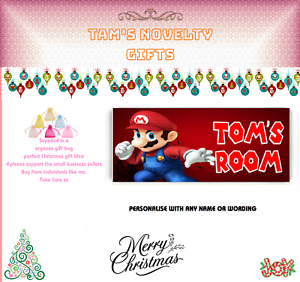 Super Mario personalised door plaque free uk postage any name gaming xmas gift