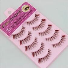 5 Pairs False Upper Eyelashes Brown Natural Wispies Durable Fake Eyelash