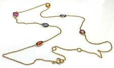 Multicolour sapphire solid 9ct gold necklace, new, fancy sapphires. Very pretty.