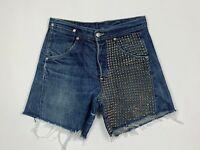 Levis shorts stars jeans donna usato borchie W28 tg 42 high waist custom T5776