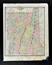 c 1885 Geo Cram Map - New Hampshire & Vermont - Montpelier Concord Lake Camplain