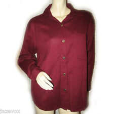 VINTAGE NEW Womens Button Down Shirt Top Blouse Red Maroon Long Sleeve Collar M