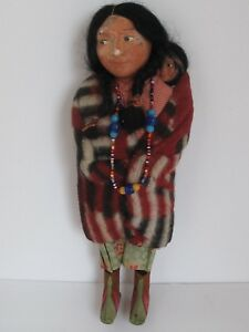 "Vintage Skookum Native American Doll Holding Papoose 11"" Tall"