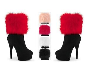 Pleaser DELIGHT-1000 Platform Ankle Bootie 4 Interchangeable Snap-On Fur Cuffs