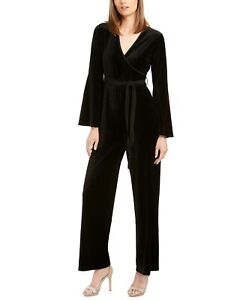 Calvin Klein Womens Black Belted Long Sleeve V Neck Evening Jumpsuit Size 6