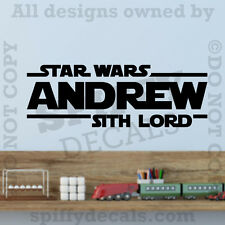Star Wars Sith Lord Personalized Custom Name Quote Vinyl Wall Decal Sticker