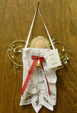 """Lace Doily Ornament #HF0309 PEACE ON EARTH ANGEL, NEW from our Retail Store 6"""""""