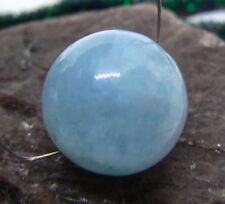RARE GEM GRADE NATURAL BLUE AQUAMARINE ROUND BEAD 13.5mm AAA