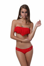 Fringe~Bandeau Bikini~Baywatch Red~Sz L~Optional Padding~Top Melon