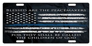 Law Enforcement Thin Blue Line Custom License Plate Police Blessed  Version