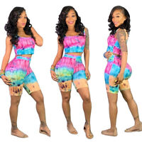 Summer New Women Sleeveless Vest+Short Pants Tie Dye Print Casual Jumpsuit 2pcs