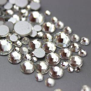 Assorted Sizes Clear Glass Rhinestone No-Hotfix Nails NON-Hotfix Premium