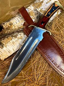 LOUIS MARTIN CUSTOM HANDMADE FIXED BLADE D2 TOOL STEEL ART HUNTING BOWIE KNIFE