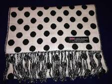100% Cashmere Scarf 72X12 White Black Polka Dot Scotland Wool Plaid C68 Women