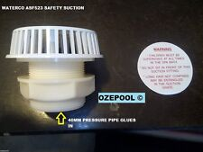 Safety Suction, for 40mm pipe  Thru the wall, with back nut, safety label,