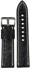 Alligator Flank Watch Band with Whit 20mm Xl Rios1931 for Panatime Black Genuine