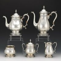 International Sterling Hand Chased 5 Piece Tea Coffee Pot Service Prelude
