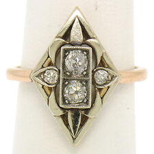 Antique Victorian 14k Tri Color Gold Marquise 0.40ctw Old Mine Cut Diamond Ring