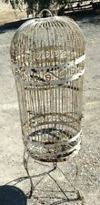 Antique Cast Iron Birdcage on Stand with Hinged Door, 4 Foot Vintage Birdcage