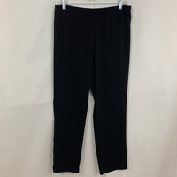 Eileen Fisher Size S Black Straight Leg Elastic Waist Pants Slacks